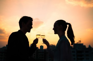 Couple drinking wine. First date